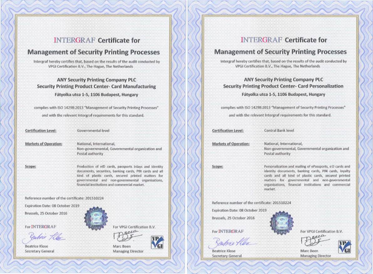 Our certification advanced on a governmental and central bank our certification advanced on a governmental and central bank level our printing company was given iso 14298 certificate xflitez Choice Image